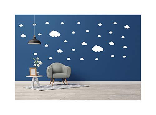 Calcomanía de pared con nubes (28 calcomanías) | Fácil de despegar y seguro en paredes pintadas | Vinilo extraíble decoración | Pegatina redonda grande juego de hojas (blanco)