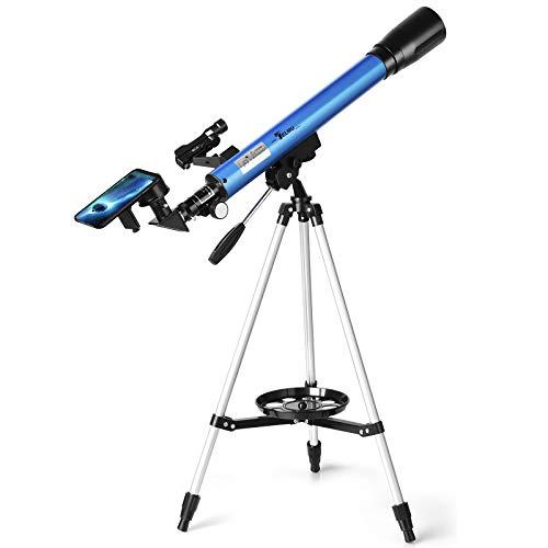 TELMU Teleskop Professionelle Astronomisches Teleskope Reflektor mit Verstellbarem Stativ, Sucherfernrohr & Smartphone Adapter Perfekt für Erwachsene & Einsteiger Amateure