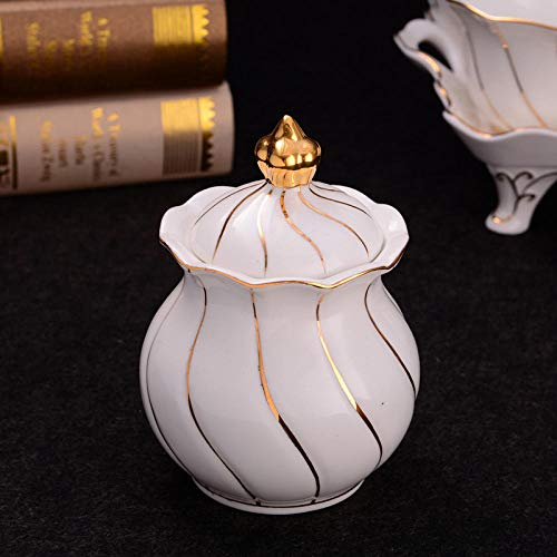 European Court Style Sugar Bowl Noble Luxury Gold Line Cafe Coffee Shop Household Cube Sugar Pot Ceramic Coffeeware Candy Jar