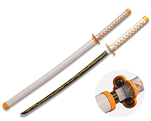 Demon Slayer Anime Samurai Cosplay Sword,Agatsuma Zenitsu,Stainless Steel Blade Katana,Not Sharp Short Swords,Use for Role-Playing and Collection