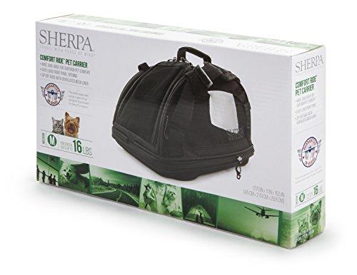 Sherpa Travel Comfort Ride Transporttasche für Haustiere, zugelassen, Größe M, Schwarz