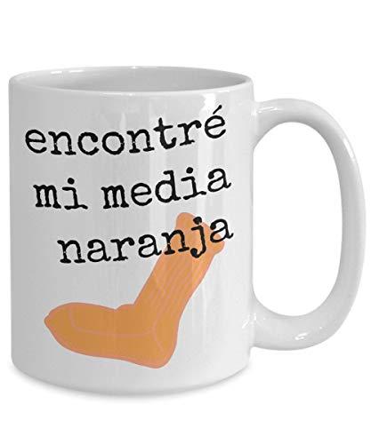 DKISEE Media Naranja, Encontre Mi Media Naranja, Vasos Media Naranja, Media Naranja Copas, Regalos Españoles Para Pareja Dia De San Valentin Aniversario 11 oz