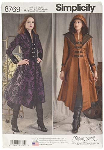 Simplicity Schnittmuster 8769 Mittelalter Cosplay und Ren Faire Kostüm Mantel, Größen 42-50