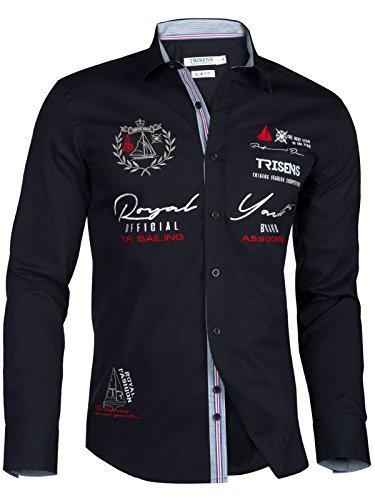 Trisens Herren Hemd Shirt bestrickt Stickerei Langarm Baumwolle Polo Party, Farbe:Dunkelblau, Größe:M