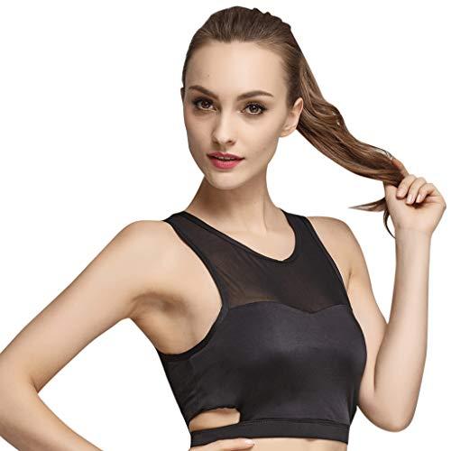 Femme Sexy Soutien-Gorge 1Piece Maillot Slim Fit Vêtements de Sport Top de Yoga Haut de Fitness pour Musculation (Noir, Blanc, S, M, L, XL) WINJIN
