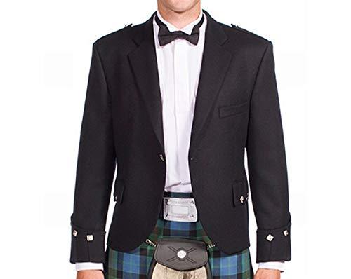 Neu Erstklassig Deluxe Hochzeit Herren Schwarz Schottisch Argyle Kilt Jacke - Wählen Sie Größe - Schwarz, 40 Regular