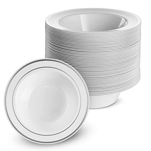 100 Disposable White Silver Trim Plastic Dessert Bowls | SMALL 6 oz. Premium Heavy Duty Disposable Dinnerware with Real China Design | Safe & Reusable and Great for Parties (50-Pack) by Bloomingoods