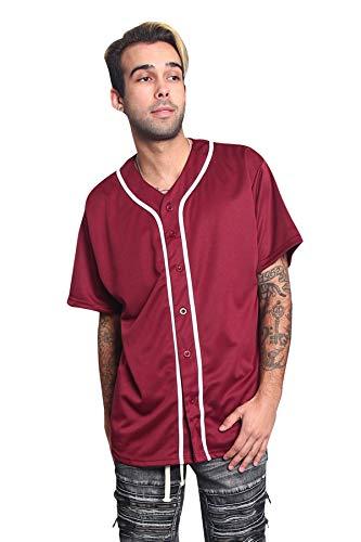 Men's Classic Baseball Jersey Shirt Button Down BJ42 - Burgundy - X-Large - KK6B