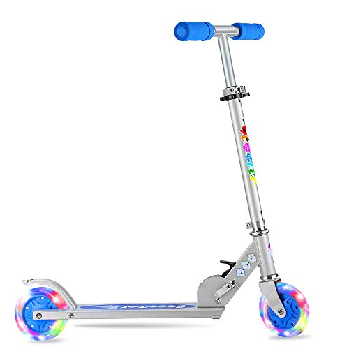 BELEEV V1 Folding Kick Scooter for Kids 2 Wheel Scooter for Girls Boys, CSPC&ASTM Safety Certified, 3 Adjustable Height, PU LED Light Up Wheels for Children 4 Years and up (Blue)