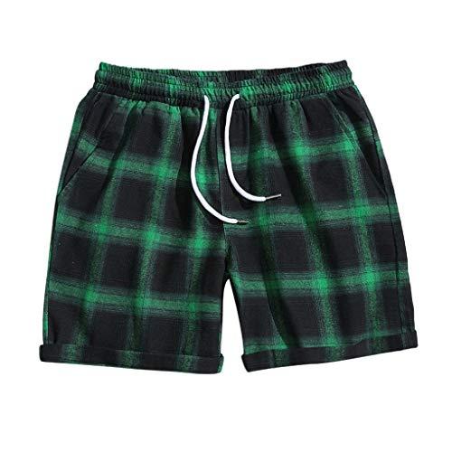 Shorts/Skxinn Herren Gitter Kurze Hose Badeshorts Surfshorts Badehose Strandshorts Casual Urlaub Strand-Shorts Lose Sport Slim Shorts Pants M-5XL(Grün,Large)