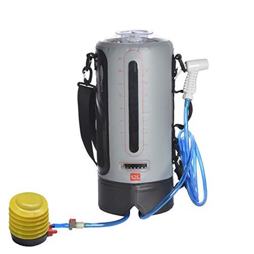 LY-Rack 12L portátil Ducha Solar de Viaje Bolsa de Agua Caliente, la presión del pie de la Bomba y el inyector de Ducha, de Nadada de la Playa Que va de excursión con Mochila, Bolsa de Ducha Solar