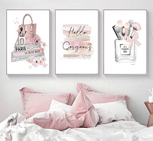 Cartel Maquillaje Pincel Belleza Arte de la pared Libros de moda Grabado Lienzo Pintura Rosa Perfume Imagen de la pared Decoración de la habitación de la niña 3 Piezas 40 * 50 Cm * 3 Sin marco