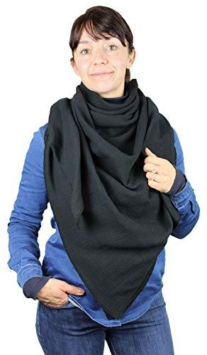 Turnanzug-GymStern XXL Musselin Tuch Schal 100% feine Baumwolle 130x130 cm Damenhalstuch Farbwahl | ML111060 Farbe Schwarz