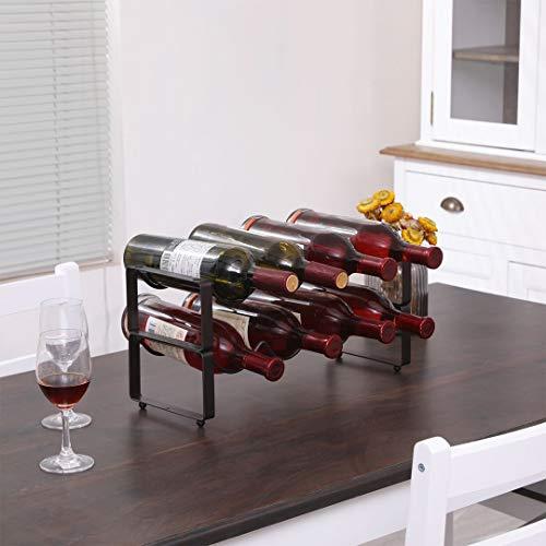 Estante de cobre de 2 niveles de encimera, soporte y almacenamiento de vino para mostrador de vino