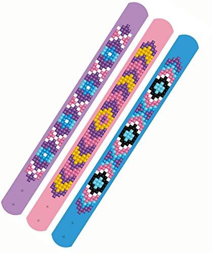 Pracht Creatives Hobby DTZ11-011 – Juego de pulseras Diamond Dotzies, símbolos, 3 pulseras brillantes para personalizar, longitud ajustable, ideal para niños , color/modelo surtido