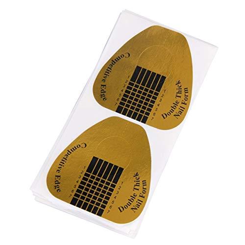 100PCS Nail Art Conseils Extension Formulaires Guide Français Bricolage Outil Acrylique UV Gel Kit (Color : Gold Horseshoe)