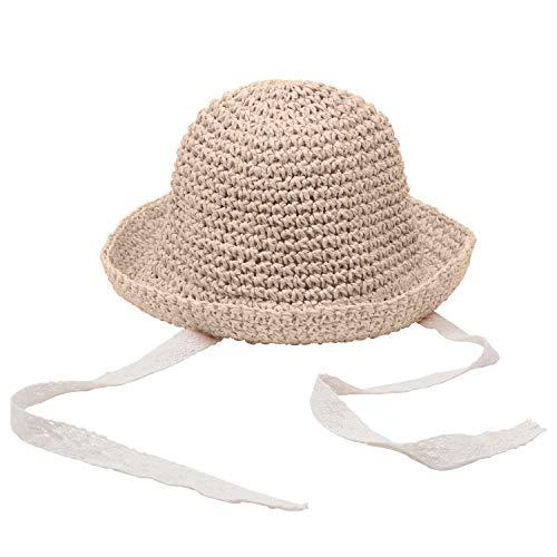 Sombrero de Paja de Verano para niños, Gorra de Playa para niñas, Gorra con Borde Flexible, Gorra de Encaje, Sombrero para el Sol Plegable para niños, 1-3 años (marrón, Talla única)