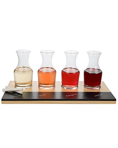 Wine Tasting Flight Sampler Set - 4-6oz Decanter Glasses w Paddle, Chalkboard and Chalk
