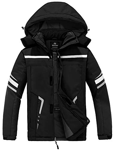 Wantdo Men's Mountarin Ski Jacket Windproof Thick Winter Parka Coat Driving Hoodies Black Small