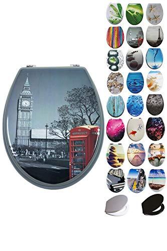 Grafner® MDF WC Sitz viele schöne Motive zur Auswahl - stabile Qualität - einfache Monatge WC Deckel Klobrille (London)