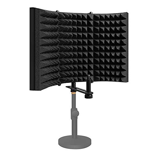 Microphone Isolation Shield, MAONO AU-S03 Portable & Foldable High Density Absorbing Foam Panel and Metal Back for Home Office, Studio, Podcasting, Vocalizing, Singing, Broadcasting