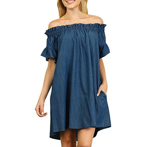 SHOBDW Tallas Grandes para Mujer Fuera del Hombro Slash Cuello Vaquero Camiseta Vestido Tops Sueltos