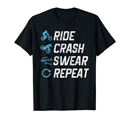 Funny Mountain Bike Shirt - Ride Crash Swear Repeat Gift T-Shirt