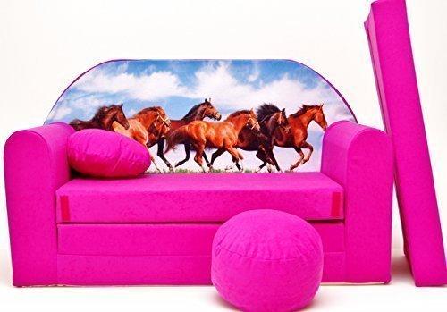 Pro Cosmo H29 Kindersofa mit Sitzwürfel, Fußhocker, Kissen, Stoff, Rosa, 168 x 98 x 60 cm, Coton, Rose