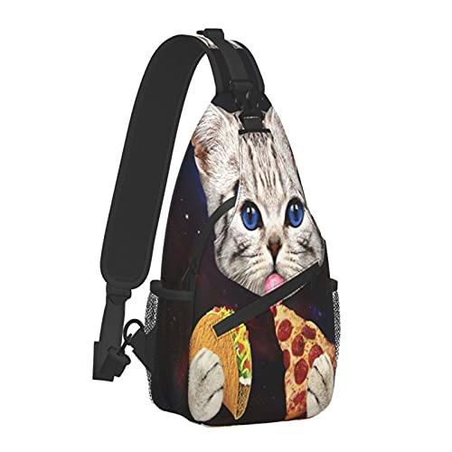 Space Cat With Taco Pizza 斜め掛け ショルダーバッグ ボディバッグ メンズ 肩掛け 鞄 レディース ワンショルダー ショルダー付替え可能 ワンショルダーバッグ 大容量 防水 軽量 アウトドア サイクリング カジュアル 旅行 リュック