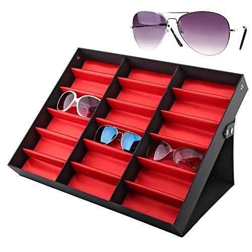 HelloCreate 18 Bril Display Case, Grids Bril Display Stand Zonnebril Opbergdoos Bril Sieraden Organizer