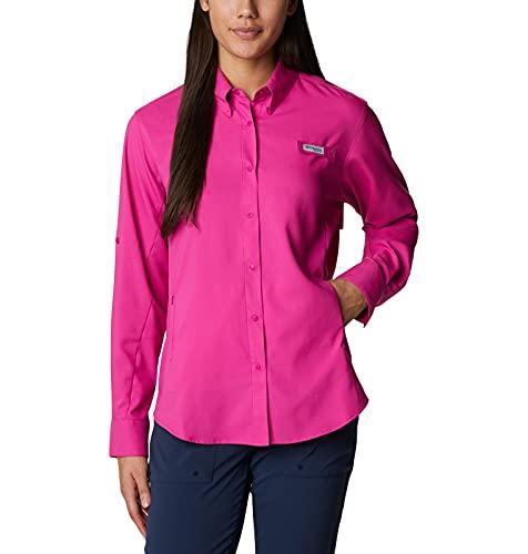 Columbia Tamiami II - Camisa de Manga Larga para Mujer, Mujer, Camisa, 1275701, Fucsia Salvaje, S