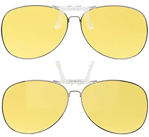 PEARL Nachtsichtbrillen: 2er-Set Nachtsicht-Brillenclips im Pilotenbrillen-Design, polarisiert (Überzieh-Nachtsicht-Brillen)