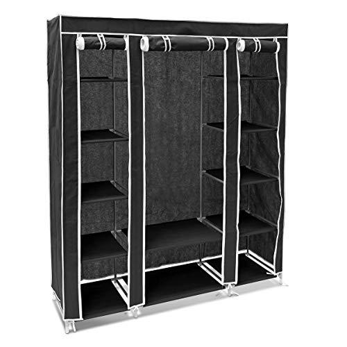 Relaxdays – Armario/ropero Plegable Hecho de Tubos de Acero y Recubrimiento de Tela con Medidas 175,5 x 148 x 43 cm Organizador para Ropa y Toallas 12 estantes, Color Negro