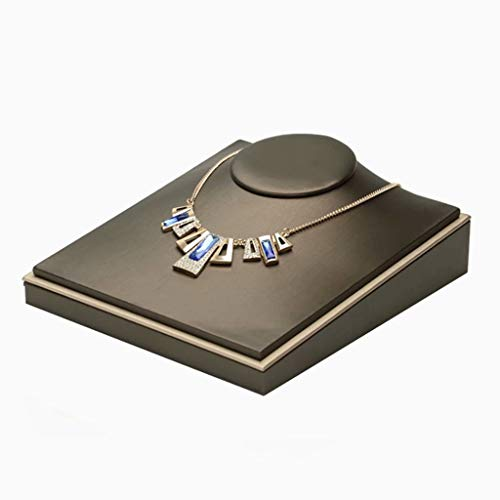 Soporte para exhibición de joyas Accesorios para collar Modelo Retrato Dibujo de alambre Soporte de exhibición de almacenamiento de felpa Estante de exhibición, estilo marrón, 18 cm × 20 cm × 9 cm