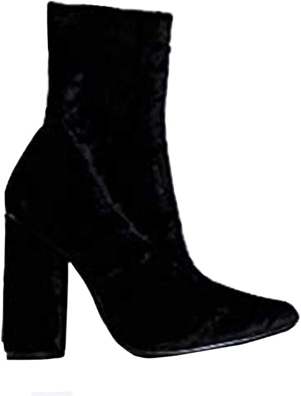 J. Adams Jay Velvet Booties - Crushed Velvet Pointed Toe Chunky Heel Sock Boots