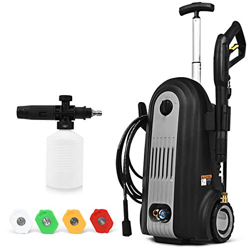 Goplus Pressure Washer, 2800PSI Portable Electric High Pressure Cleaner Machine w/ 4 Nozzles, Hose Reel, Turbo Nozzle Detergent Tank, 2500W 1.96GPM (Black)