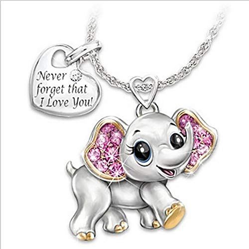 YISHIOU Gorgeous Cute Elephant Necklace Ms. Never Forget That I Love You Lettering Tag Pendant Jewelry - A Gift for Friends, Couples And Family Accessories