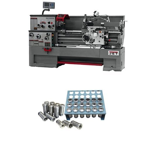JET GH-1640ZX Lathe with Newall DP700L DRO and Tak with Premium 35 Piece 5-C Collet Set With Rack (1/32nd)