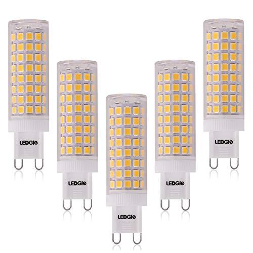 LEDGLE 10W G9 Bombillas LED, Equivalente a Halógeno de 100W, 100 LEDs, 900lm Blanco Cálido 3000K, Sin Parpadeo, No Regulable, Ángulo de Luz de 360°, Pack de 5 Unidades