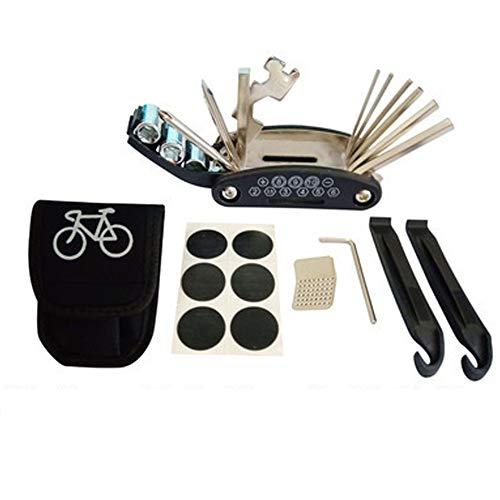 Strumento multifunzionale biciclette 16 in uno, combinato riparazione mountain bike, kit di riparazione pneumatici chiave pieghevole, chiave multiuso relativi borsa portautensili portatile (nera)