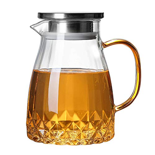 Caraffa per acqua, caraffa in vetro, con coperchio, per tè freddo, 1000 ml