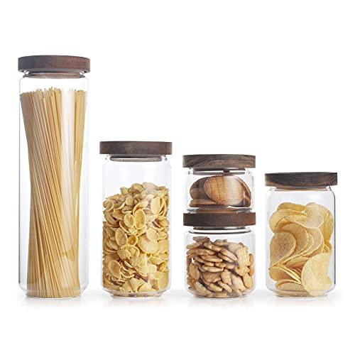 IVAILEX Set di contenitori per alimenti in vetro, barattoli ermetici per alimenti con coperchi in legno di acacia - Set...