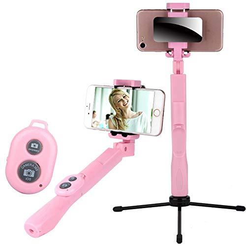 Xxw lamp Artifact Mini Lange Mobiele Telefoon Bluetooth Afstandsbediening Statief Universeel Multi-functie Foto Live Broadcast Beugel, roze