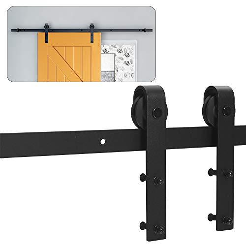 296CM Schiebetürbeschlag Set, Schwarzes Schienenset passend für eine einzelne Holztür, J-Form
