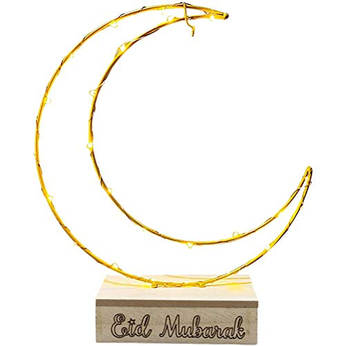 BSTQC LED Eid Moonlight Lámpara Ramadán Mubarak Luces decorativas multiusos Durable hierro Adornos de escritorio