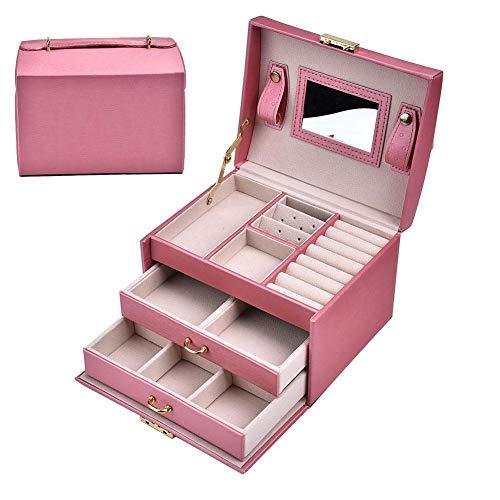 Caja del organizador de la joyería, joyero de cuero de la PU, reloj incorporado del espejo de HD para la joyería del almacenamiento