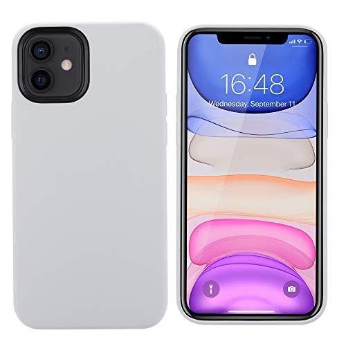 THBY Compatibile con Cover iPhone 12, Custodia iPhone 12 PRO, Silicone Case Antiurto Silicio Liquido con Fodera Tessile Microfibra Morbida, per Apple iPhone 12 e 12 PRO.(6.1inch,Bianca)