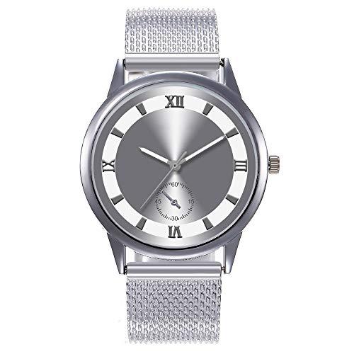 Escala Romana Creativa Señoras Simulación Protección del Medio Ambiente Cinturón De Malla De Plástico Hipoalergénico Reloj De Moda Simple Silver Face Silver Shell Cinturón de Plata