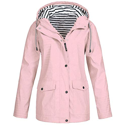 TIMEMEAN Winter Women Autumn Casual Daily Coats Women Solid Rain Jacket Outdoor Plus Waterproof Hooded Raincoat Windproof Pink Size 24