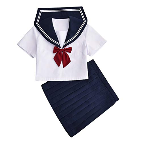 Baipin Uniforme Escolar de Japón Traje de Marinero Disfraz de Colegiala Japonesa, Top de Manga Corta + Falda, Talla: S